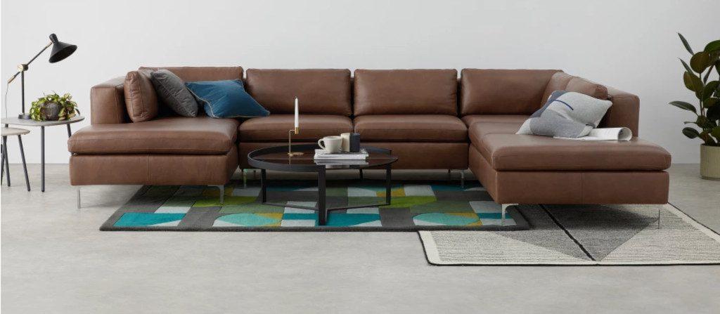 Canapé d'angle 4 places XL en cuir brun