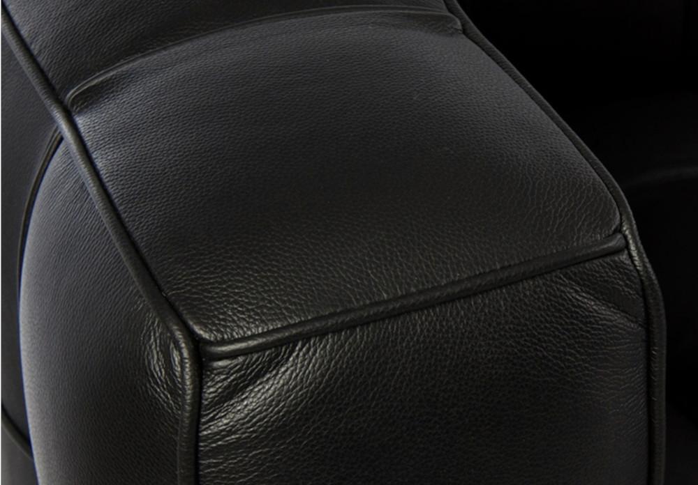 Canapé droit 3 places noir en cuir capitonné inspiré de Joseph Hoffman