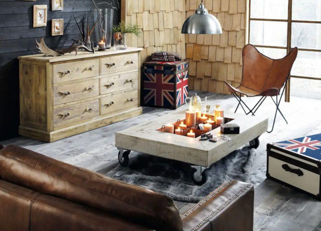 Canapé droit 4/5 places en cuir marron vieilli avec une structure en pin