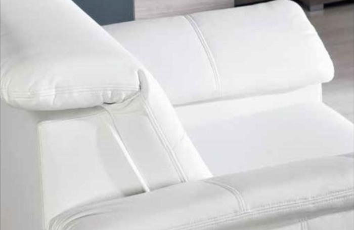 Canapé droit en cuir blanc véritable avec pieds en chrome
