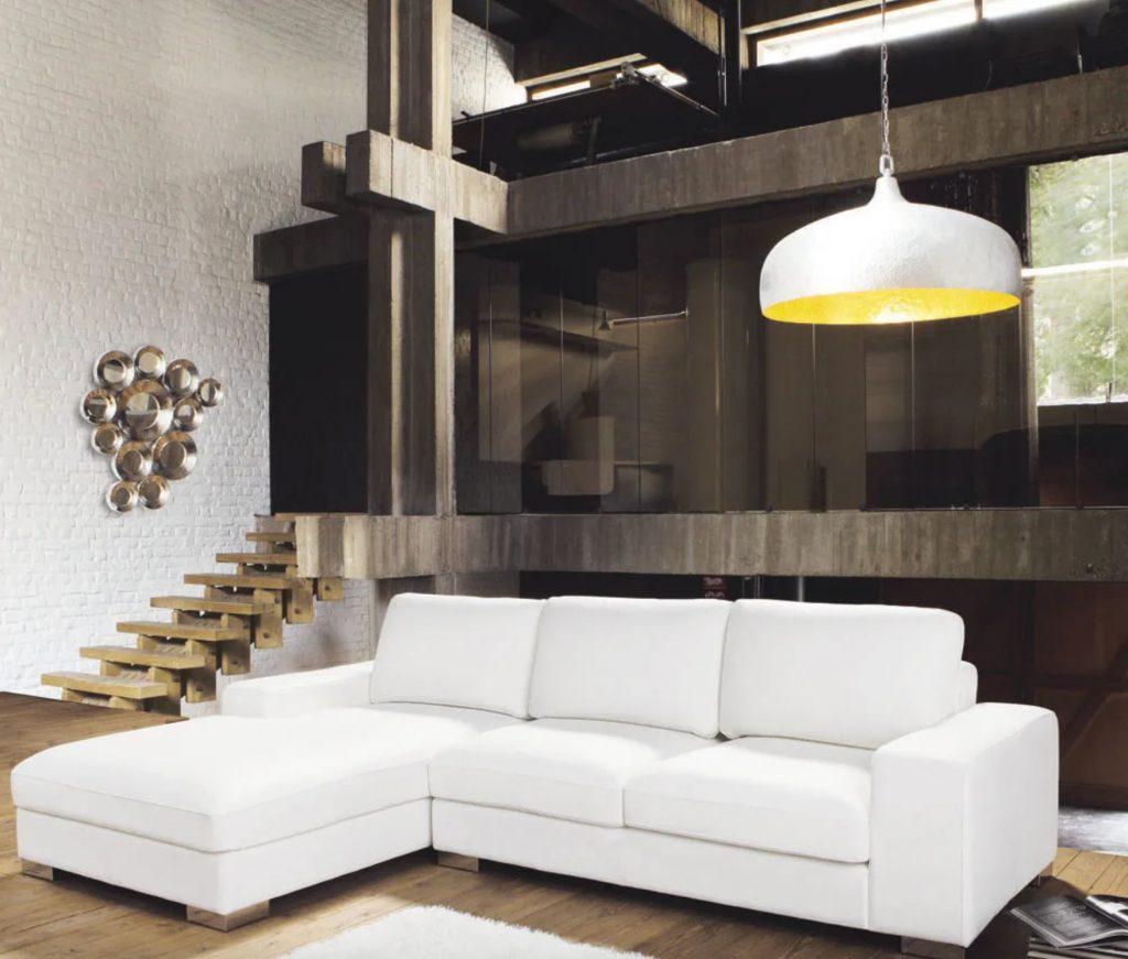 canapé d'angle en cuir blanc 5 places