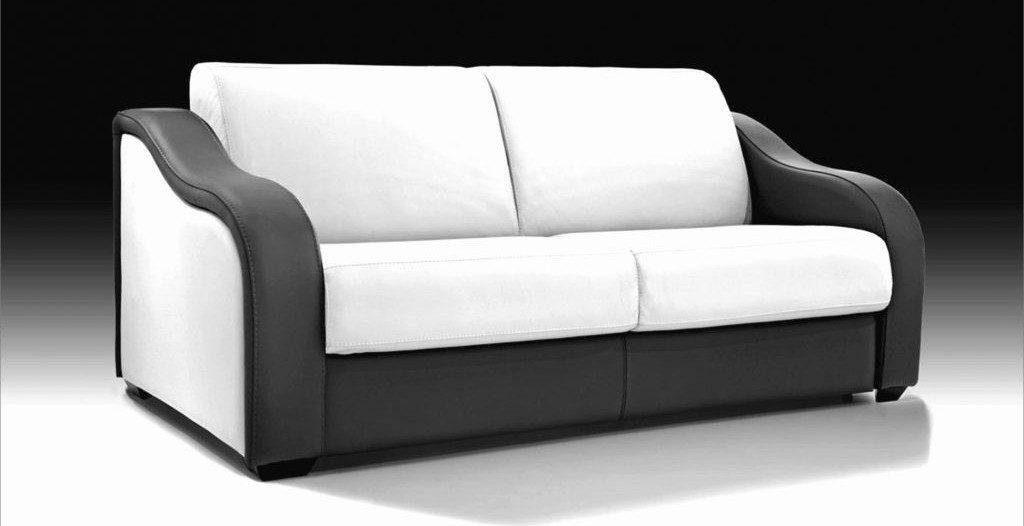 canapé en simili cuir noir et blanc