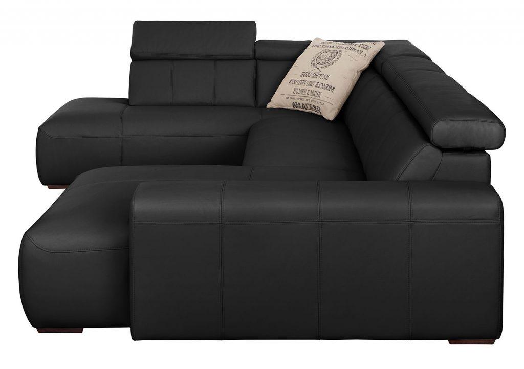 Canapé panoramique noir en cuir confortable