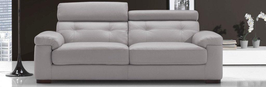 canapé droit en cuir de vachette gris