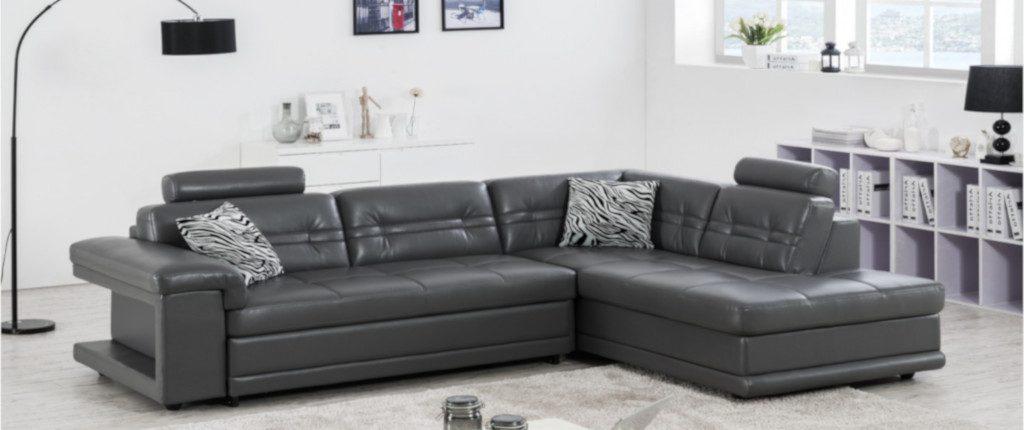 canapé en cuir gris