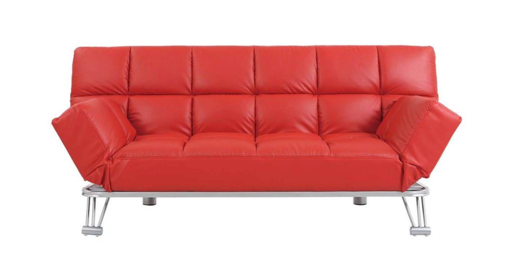 Canapé droit convertible en cuir 3 places rouge
